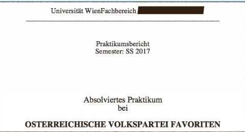 Ein paar türkische Studenten haben Praktika bei der ÖVP Favoriten absolviert. Den Praktikumsbericht dazu hat kaum einer selbst geschrieben.