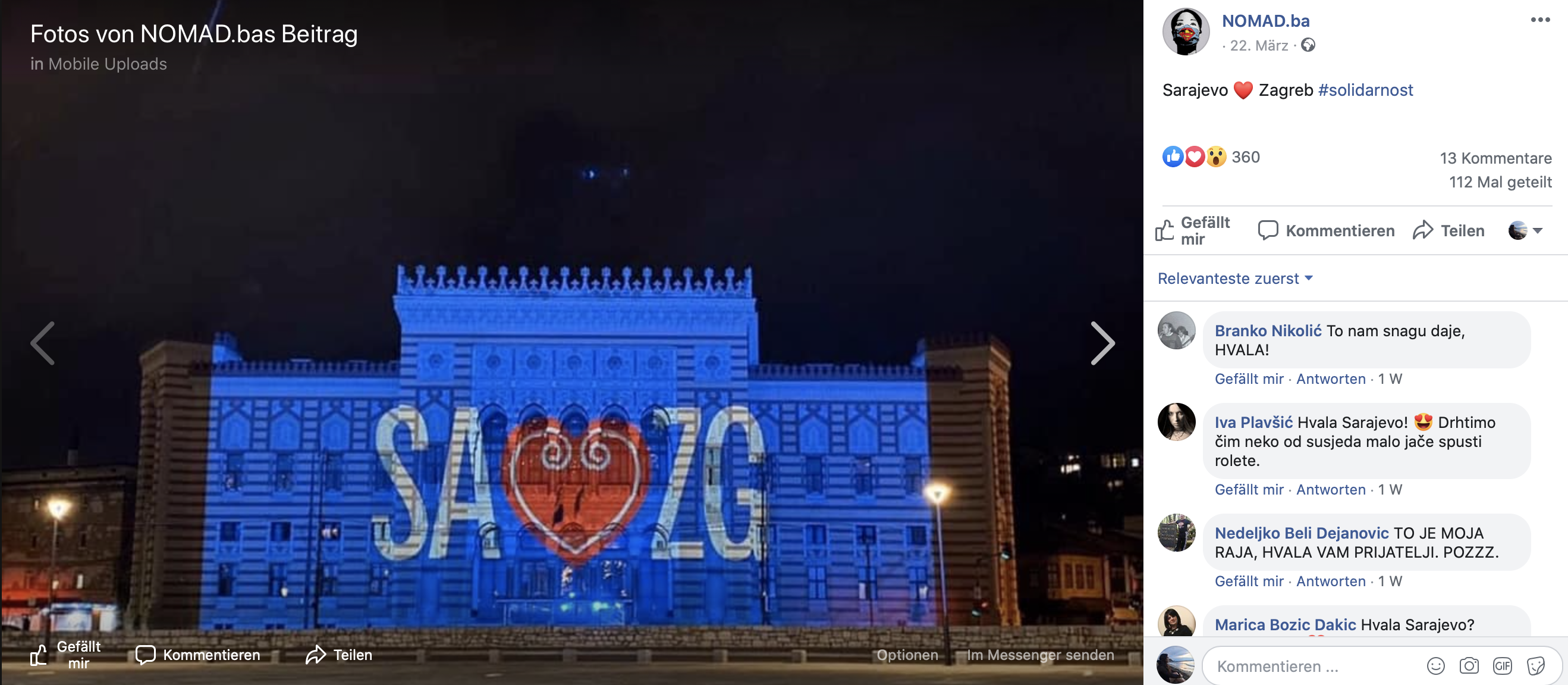 Sarajevo, Solidarität