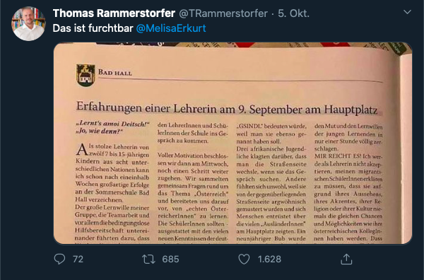 Screenshot Tweet Thomas Rammerstorfer