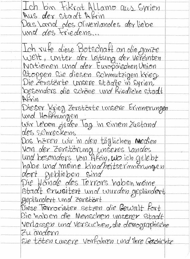 Brief, Fikrat, Deutschland, Schülerin, Syrien