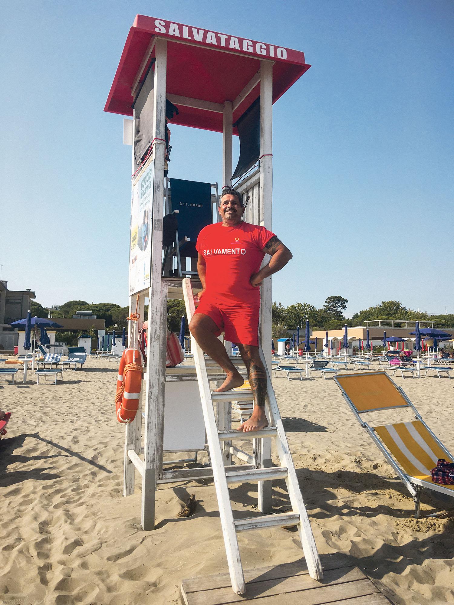 Bagnino, Rettungsschwimmer, Italien, Grado, Corona