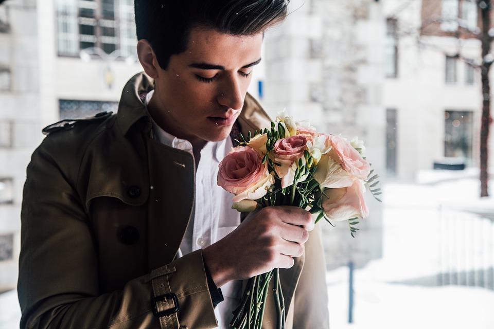 man, roses