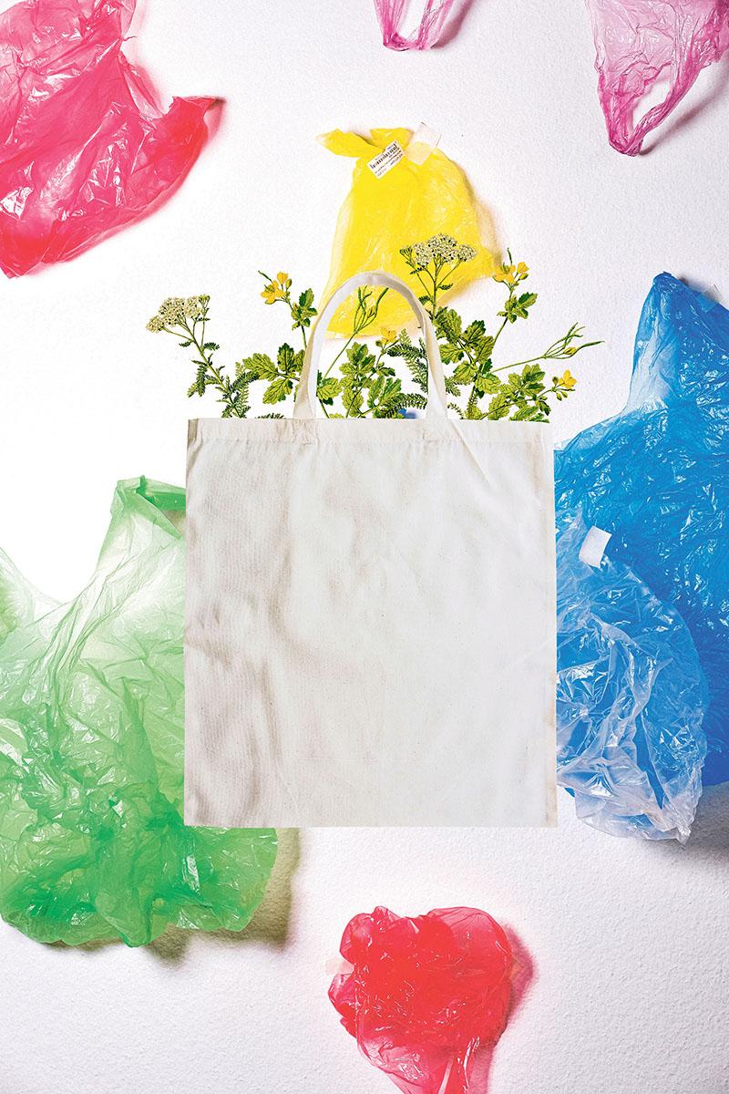 Nachhaltigkeit, Collage, Beutel
