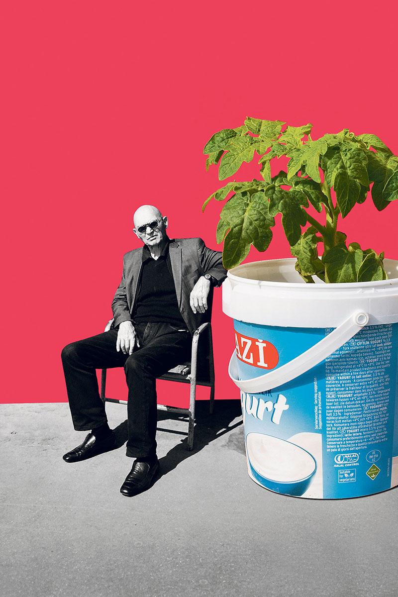 Nachhaltigkeit, Collage, Blumentopf