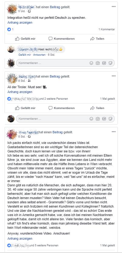 Kommentare über die Ali-Kurzdoku Foto: Facebook-Screenshot