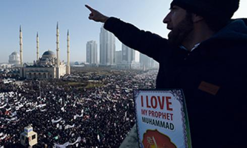 Eine Kundgebung gegen Charlie Hebdo in Grosny, Tschetschenien