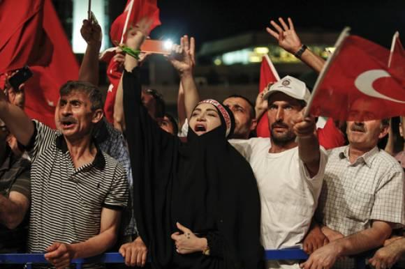 Türkei, Demo, Putsch, Flagge