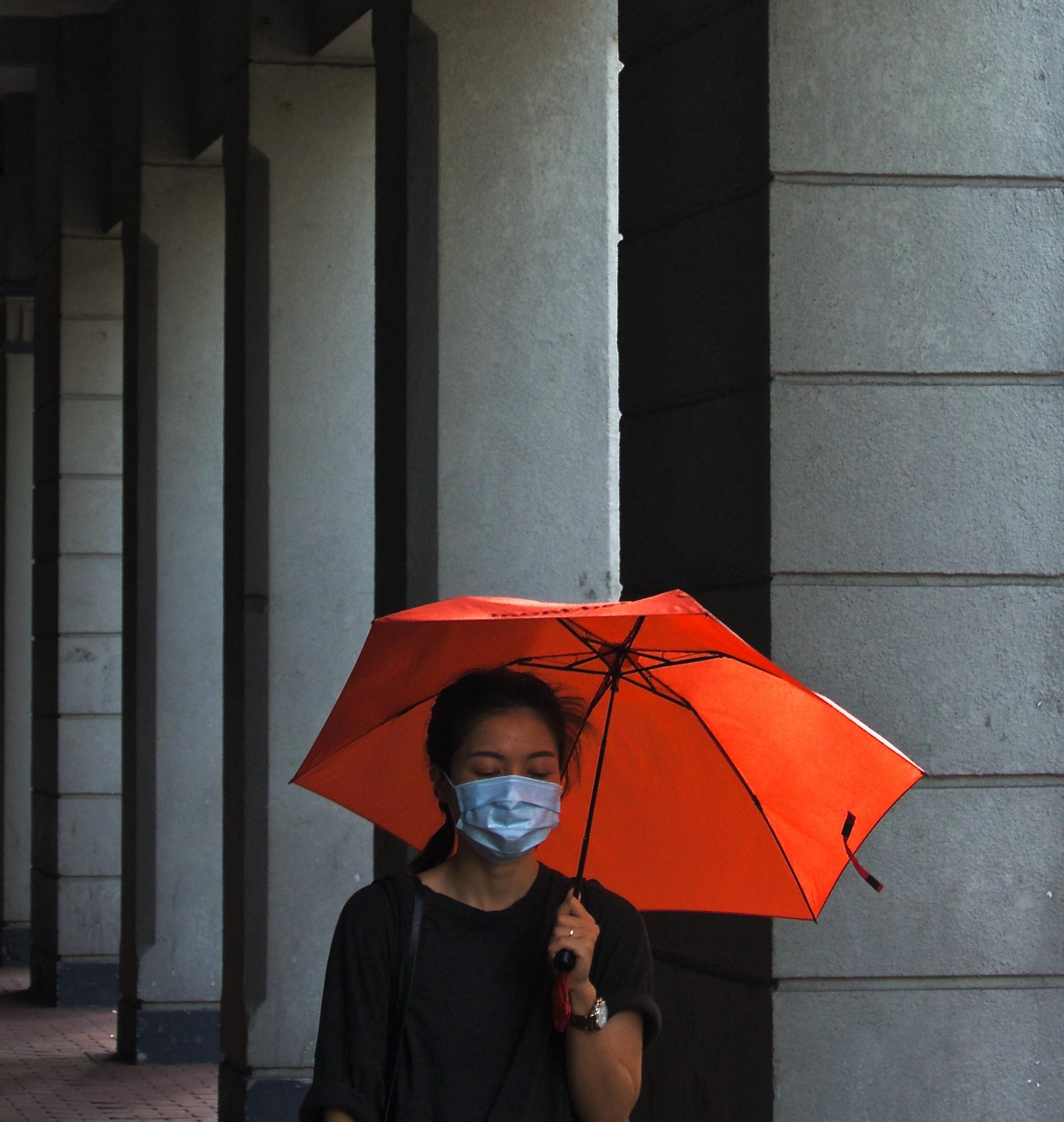 Schutzmaske Frau mit Regenschirm